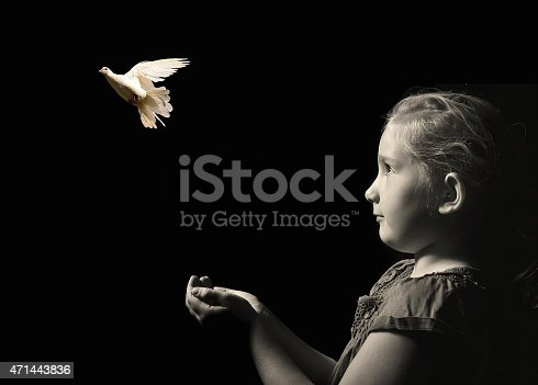 istock The little girl releasing a white dove from hands. 471443836