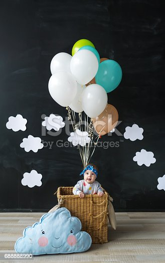 istock The little girl sitting in a basket of balloon 688888990