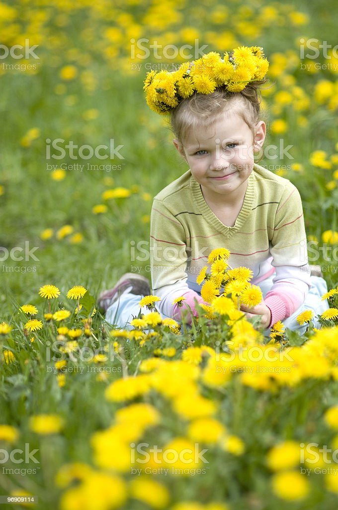 The little girl  with wreath of flowers royalty-free stock photo