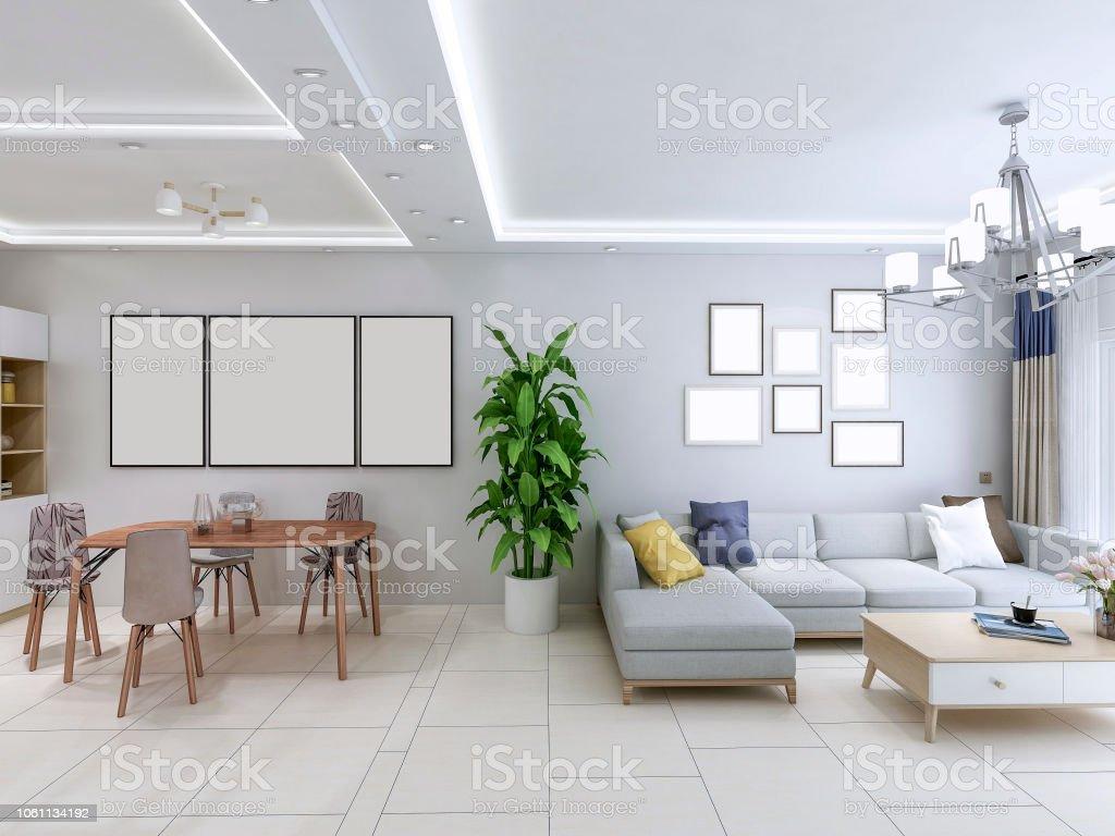 El Diseño Del Salón De La Casa El Salón De Sofá Y Mesa ...