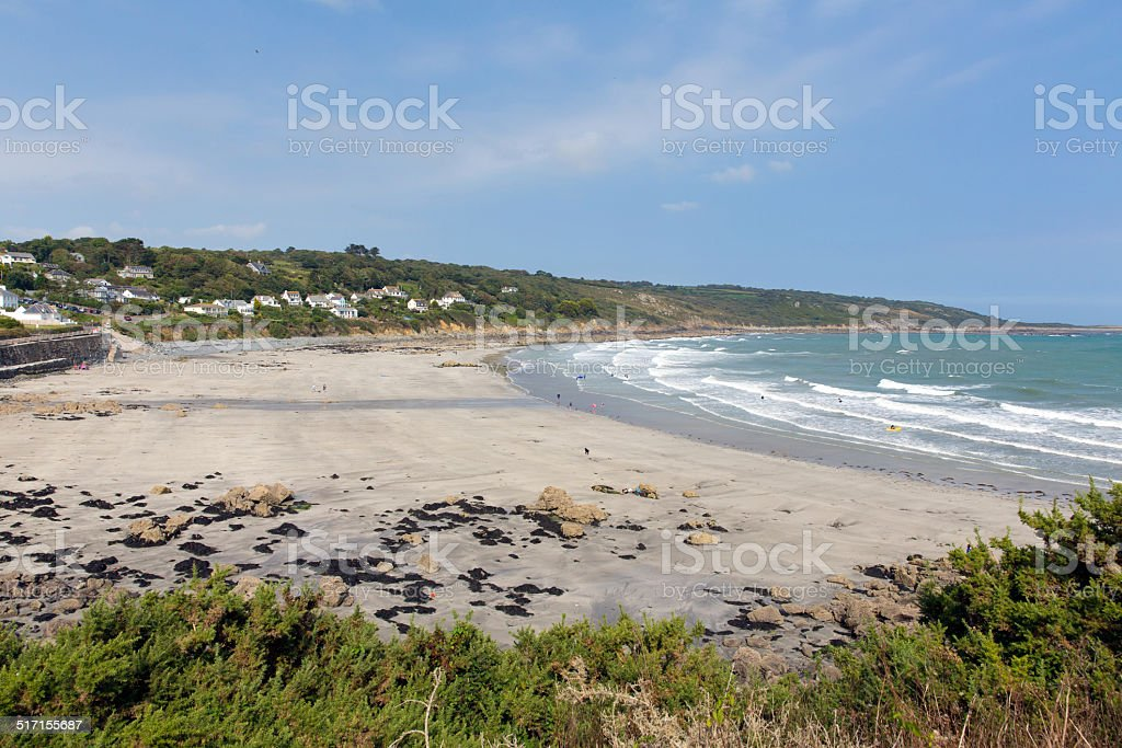 The Lizard beach Coverack Cornwall England UK white waves stock photo