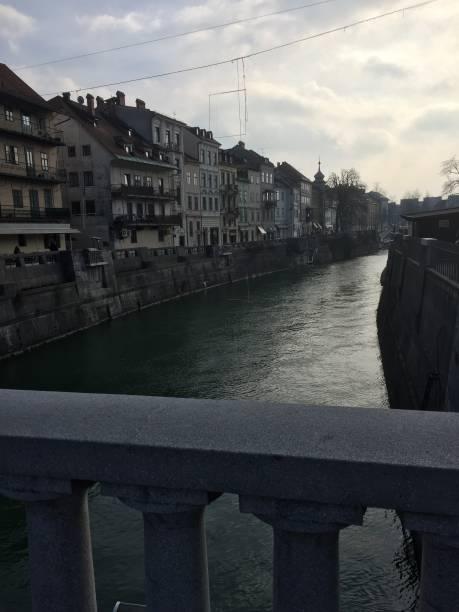 The Ljubljanica River in Ljubljana, Slovenia stock photo