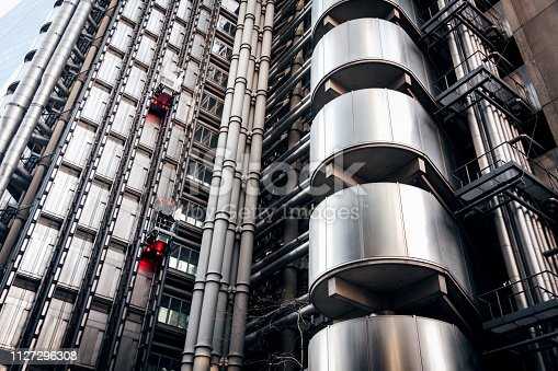 A photograph of the Lloyds Building in London from ground