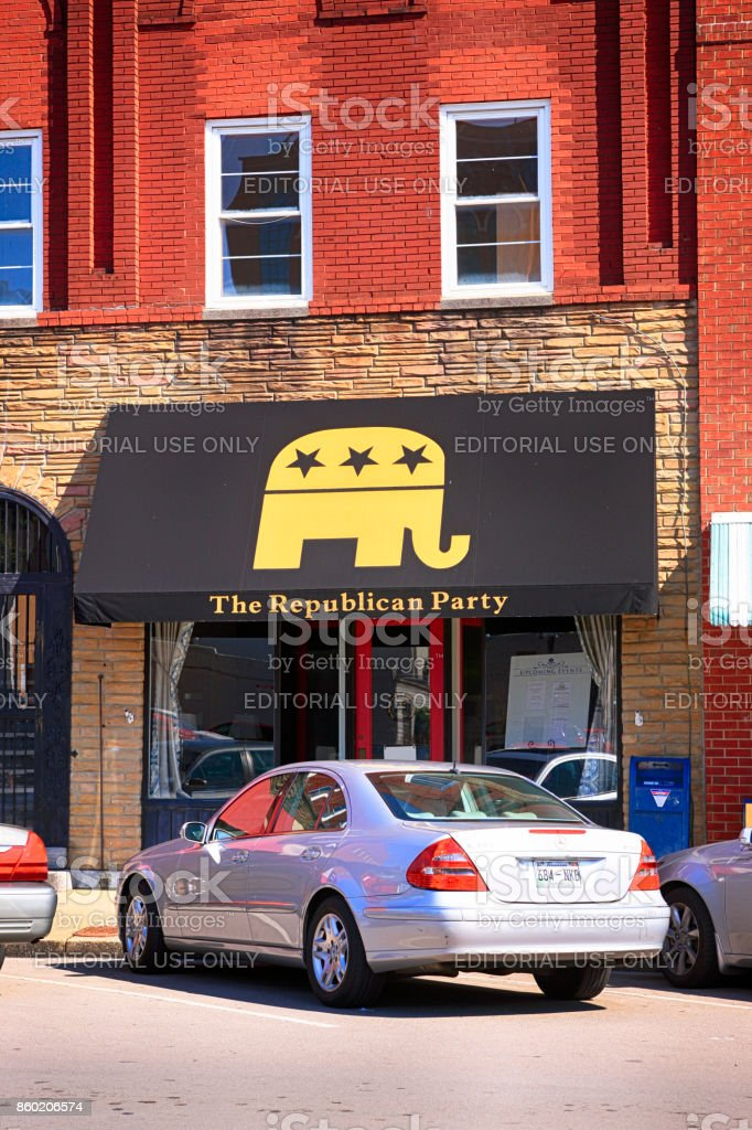 The local Republican Party office in downtown Murfreesboro TN, USA stock photo