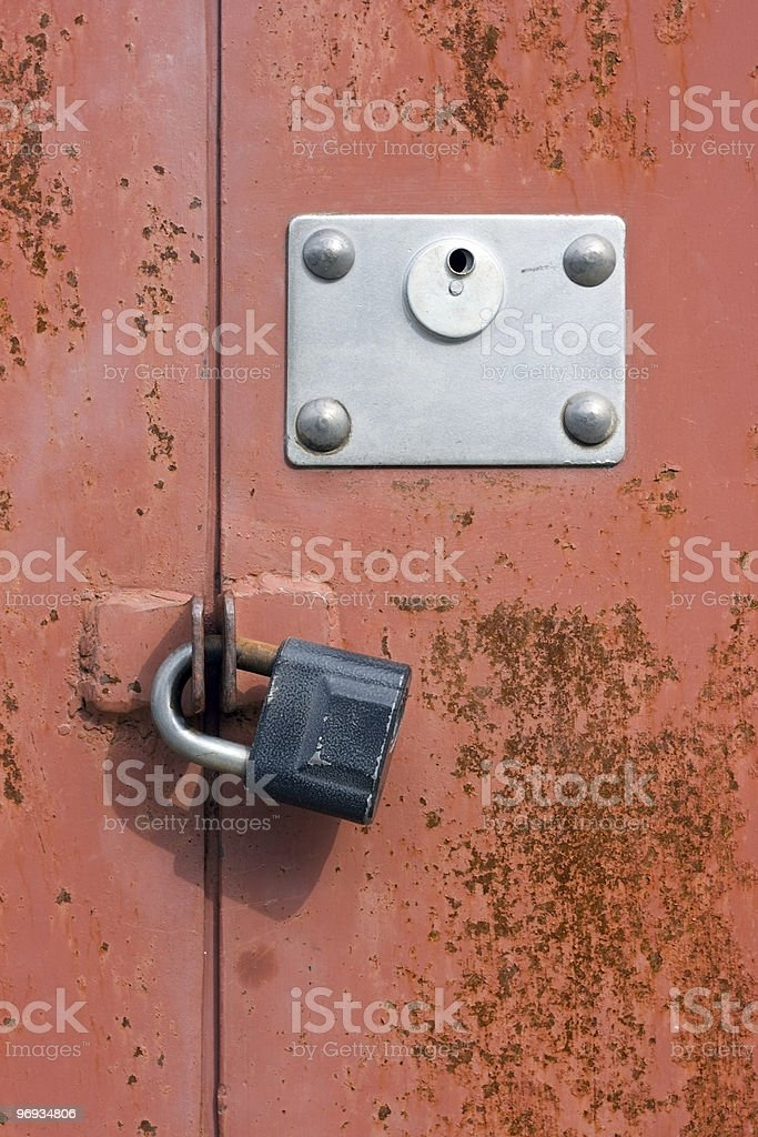 The lock on a door royalty-free stock photo