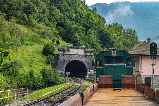 The locomotive pulls carriages to see the valleys and mountains of the Julian Alps,Primorska,Slovenia