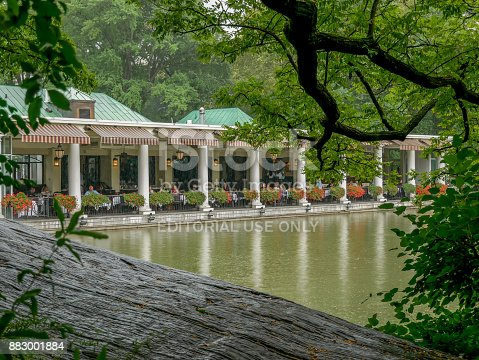 New York - Sep 2017: The Loeb Boathouse restaurant view on the Lake in Central Park, New York City