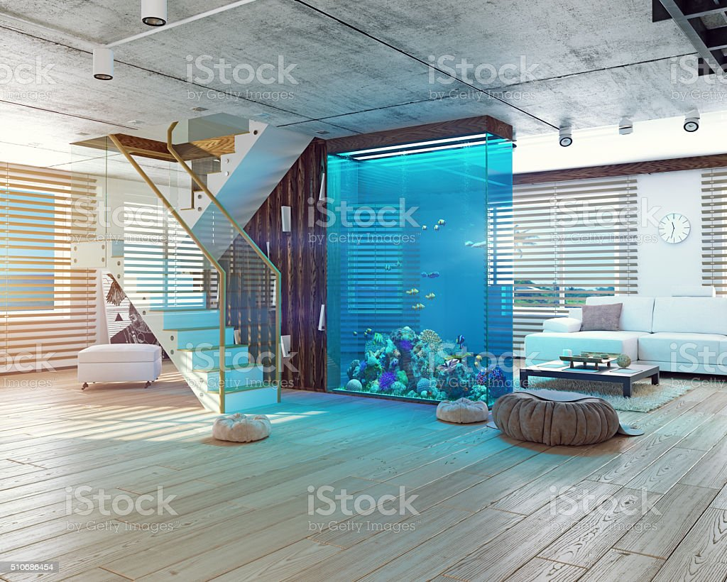 The loft interior with aquarium​​​ foto