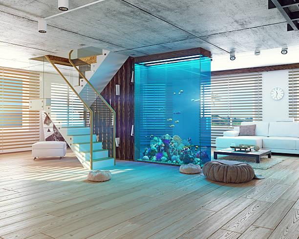 the loft interior with aquarium - home aquarium stock pictures, royalty-free photos & images