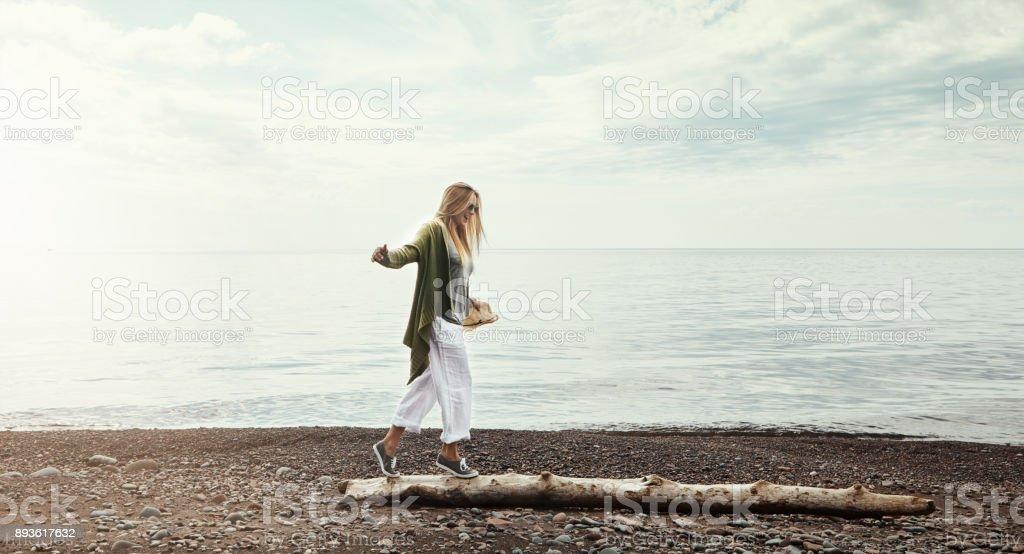 The log walking champion stock photo