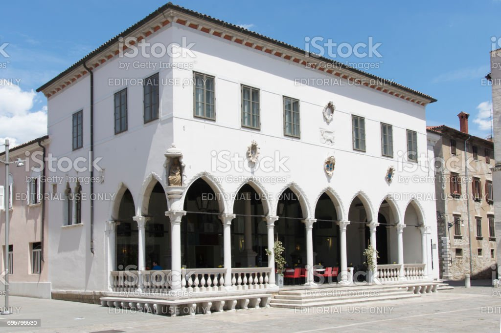 The loggia palace in Koper stock photo