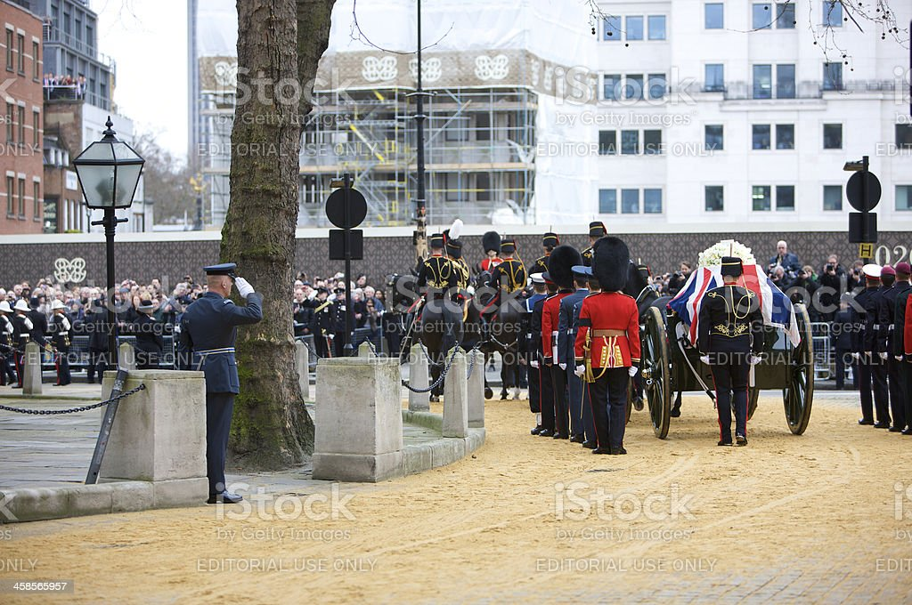 The London ceremonial funeral of British Prime Minister Margaret Thatcher royalty-free stock photo