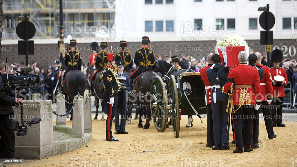 The London ceremonial funeral of former Prime Minister Margaret Thatcher stock photo