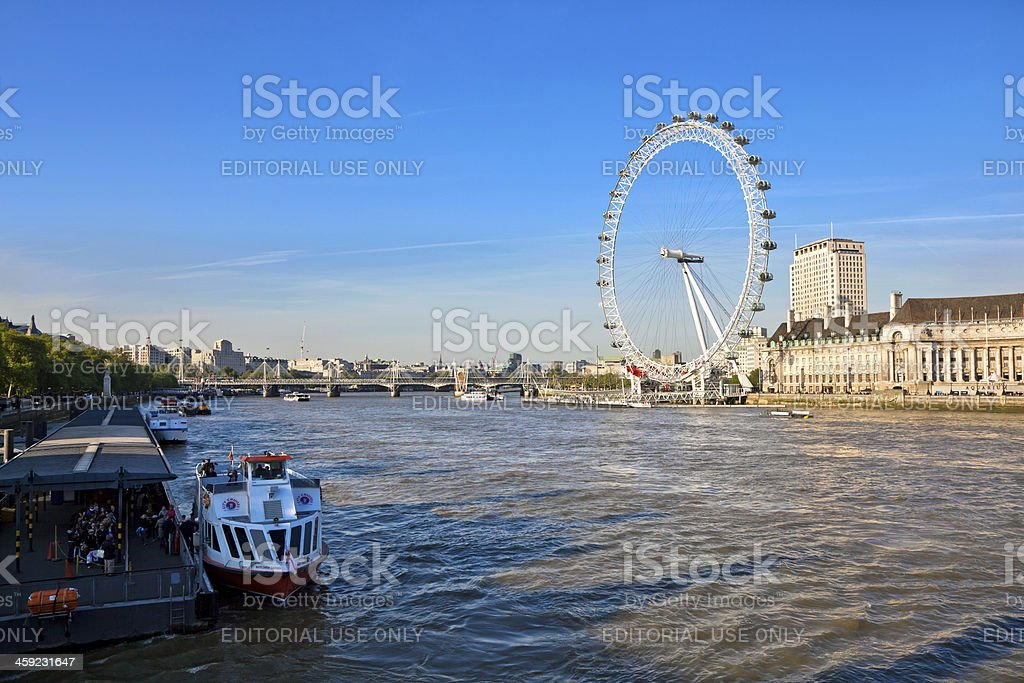 The London Eye and River Thames royalty-free stock photo