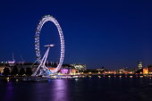 The London Eye is a giant Ferris wheel on the South Bank of the River Thames in London. The structure is 443 feet tall and the wheel has a diameter of 394 feet. When it opened to the public in 2000 it was the world's tallest Ferris wheel.