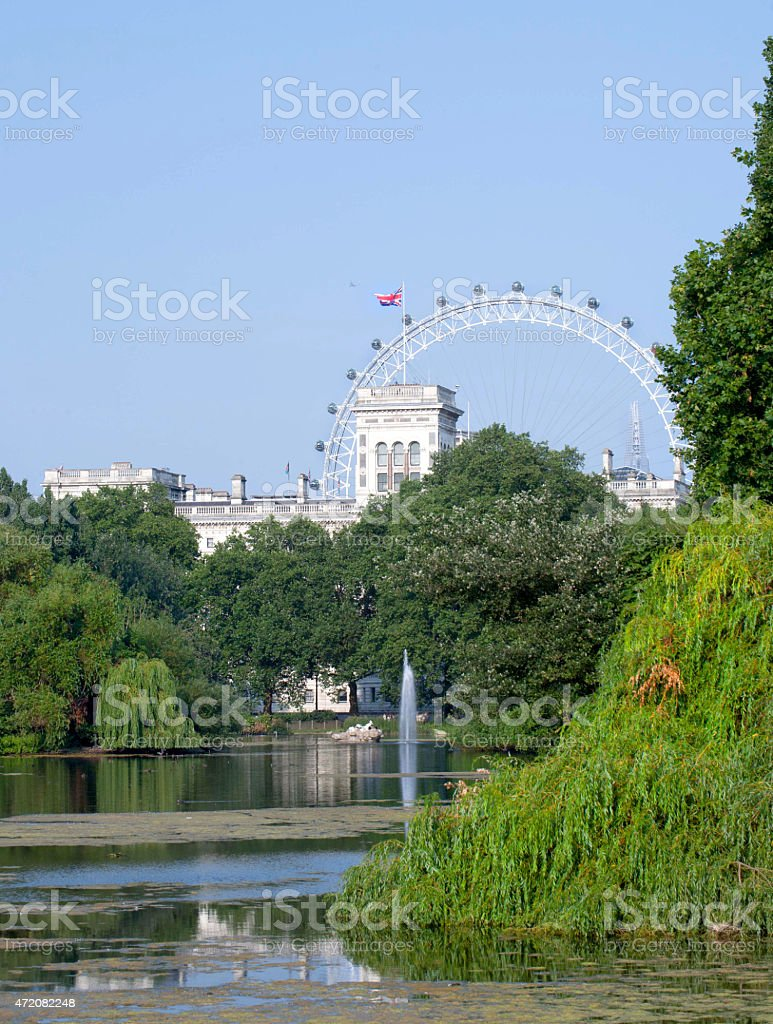 The London Eye (Millennium Wheel) shot from St James Park stock photo