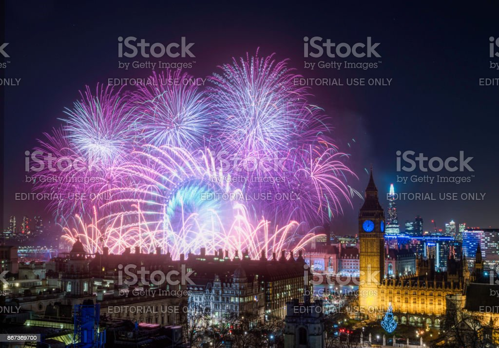 The London New Year Fireworks Display stock photo