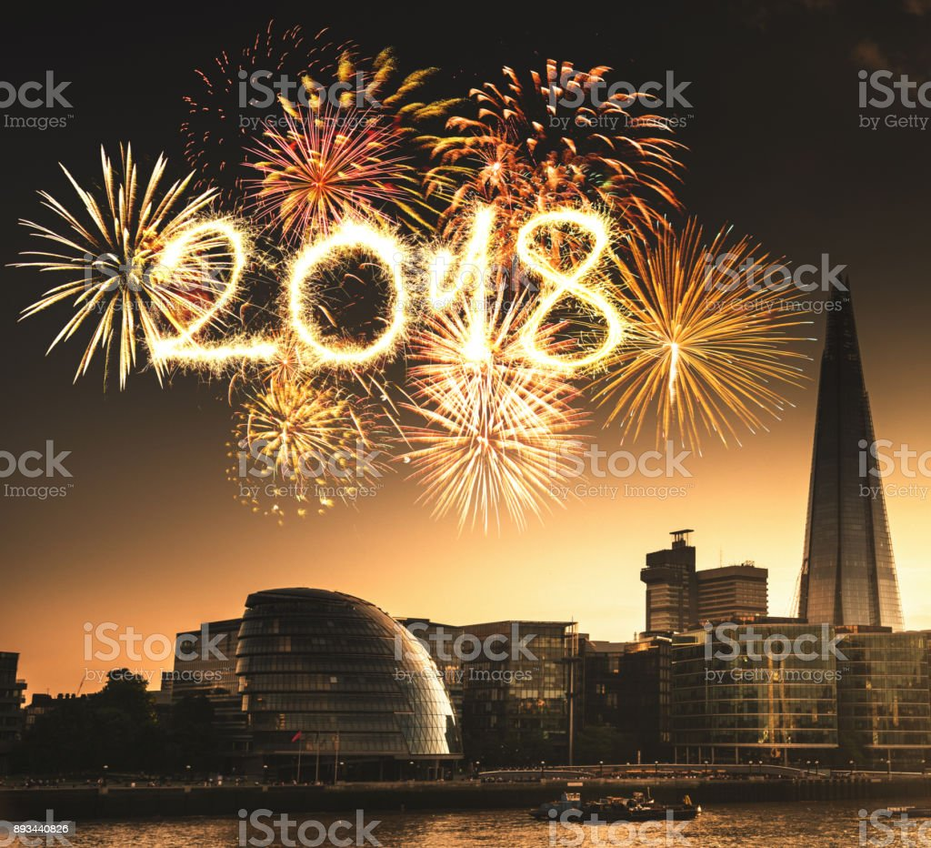 The london skyline for the new year stock photo