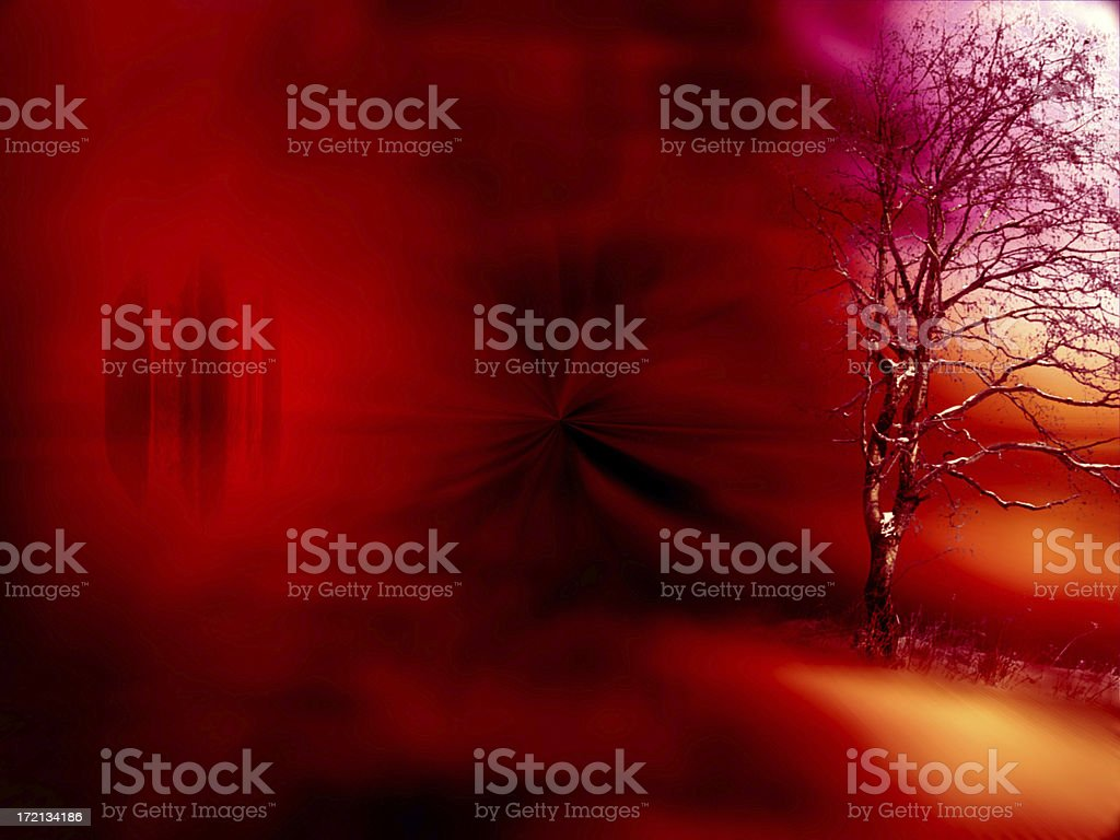 the lonely red tree royalty-free stock photo