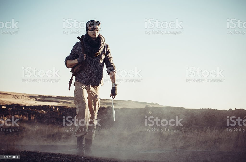 The lonely soldier goes on the road stock photo