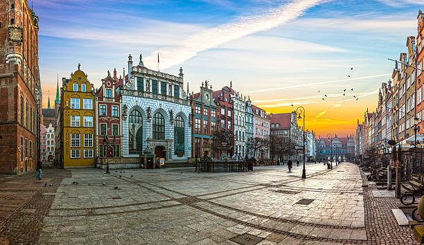 the long lane street in gdansk - poland stock photos and pictures
