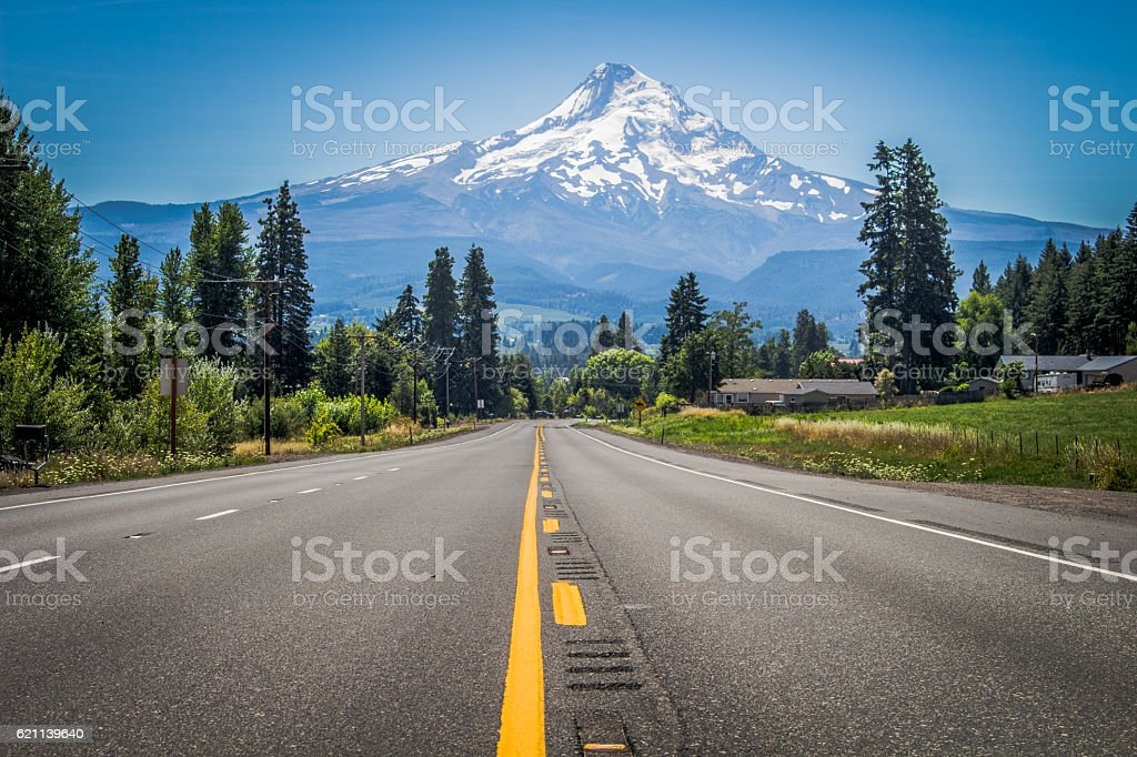 The Long Road to Mt. Rainier stock photo