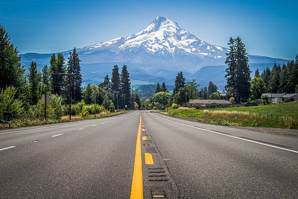 The Long Road to Mt. Rainier Driving along a highway when I turned a corner to have Mt. Rainier staring me in the face.  mt rainier stock pictures, royalty-free photos & images