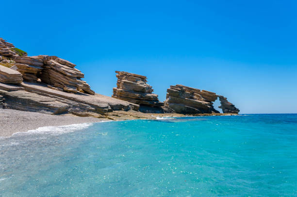 The long sandy beach of Triopetra in south Crete stock photo