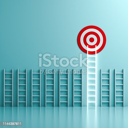 938669816 istock photo The longest neon light ladder reaching for the bright goal target dartboard the business creative idea concepts on green pastel color wall background with shadows 1144397611