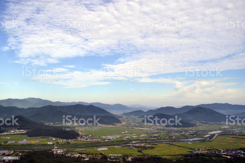 The lookout view around Namsan Mountain. Mountains behind the city! stock photo