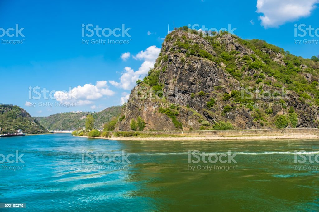 The Lorelei (Loreley) on the right bank of the River Rhine in the Rhine Gorge ( Middle Rhine) at Sankt Goarshausen in Germany. royalty-free stock photo