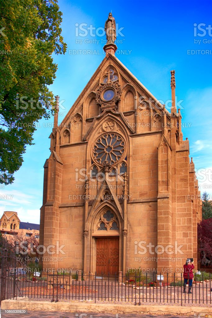 The Loretto Chapel on the Old Santa Fe Trail in downtown Santa Fe, New Mexico, USA stock photo