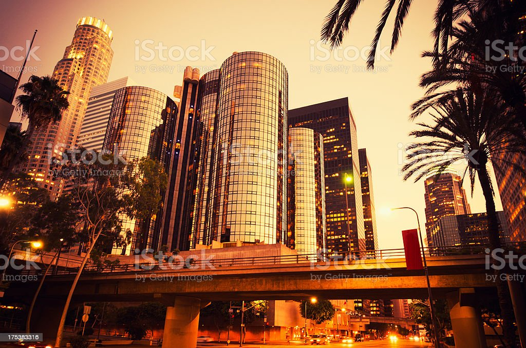 the Los Angeles downtown at dusk royalty-free stock photo