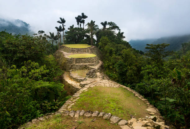 The Lost City (Ciudad Perdida) ruins in the Sierra Nevada de Santa Marta stock photo