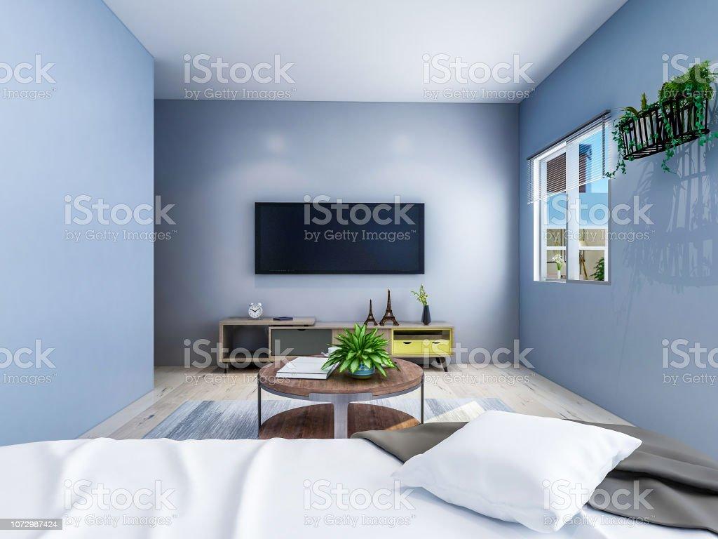 Loungeraum In Das Geräumige Schlafzimmer Das Wohnzimmer Hat Einen  Couchtisch Und Tv Sowie Grünpflanzen Und Andere Dekorationen Die Sonne  Scheint Durch ...