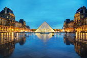 Panorama of Paris, France. View of Louvre museum and Montmartre