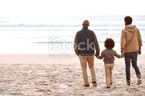 Rearview shot of an adorable little boy spending time at the beach with his grandfather and father