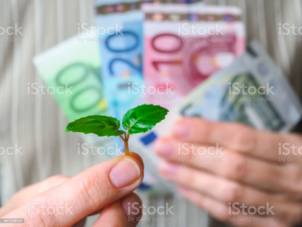 The love of money. Euro banknotes. stock photo