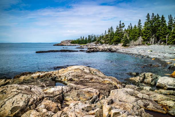 The lovely Duck Harbor Isle au Haut in Acadia National Park, Maine stock photo