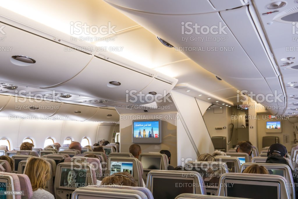 The lower deck of Airbus A 380, a double-deck jet airliner with excellent comfort and space stock photo