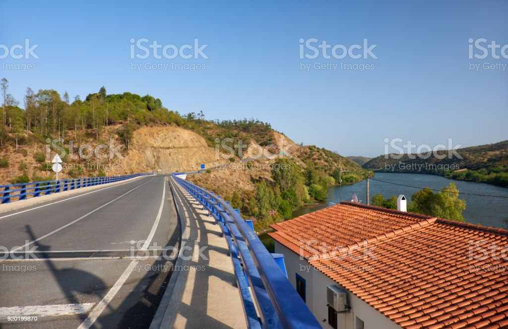 The Lower Guadiana International Bridge connecting Portugal and Spain stock photo