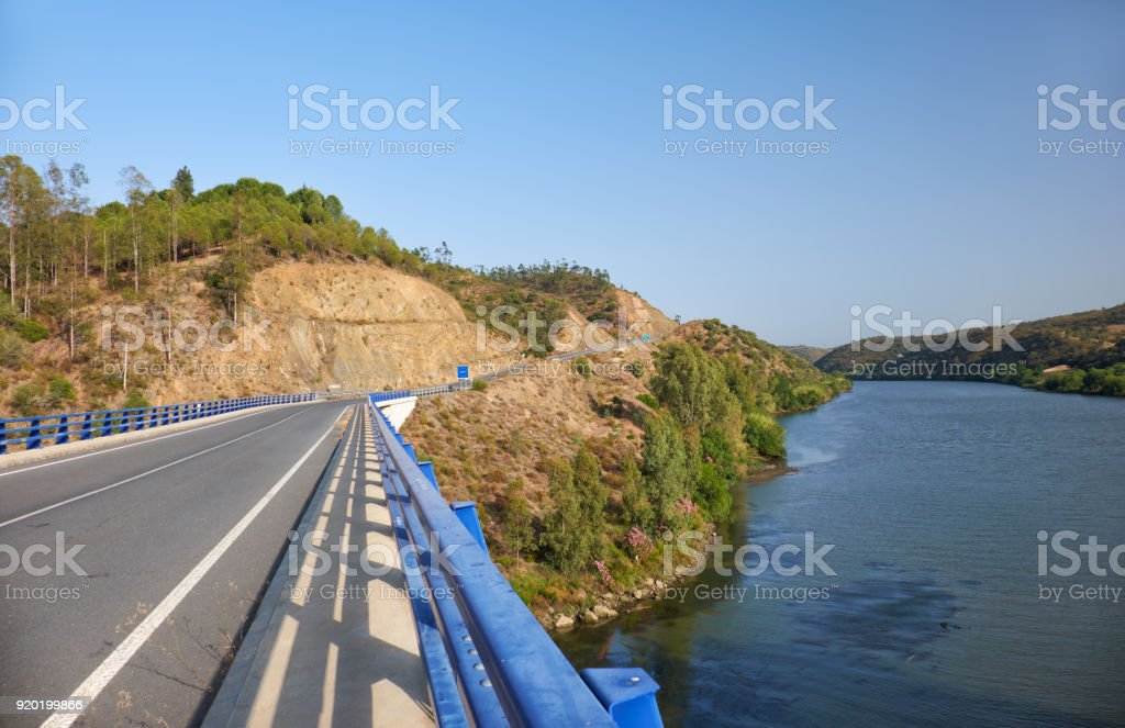 The Lower Guadiana International Bridge on the boundary between Portugal and Spain stock photo