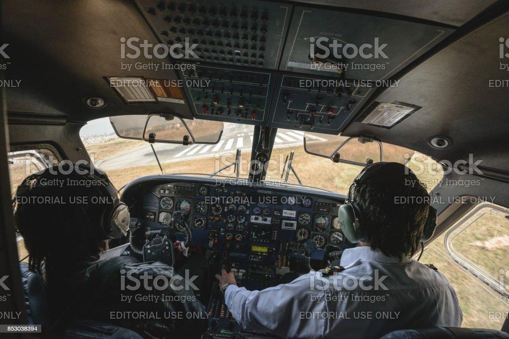 The Lukla flight stock photo