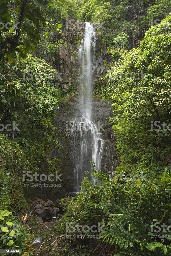 The lush Wailua Falls of Maui, Hawaii royalty-free stock photo