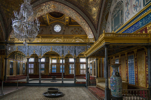 The luxurious and beautifully decorated Throne Room of Topkapi Palace harem, Istanbul, Turkey stock photo