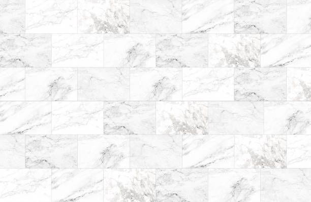 The luxury of white marble tiles texture and background. - foto de acervo