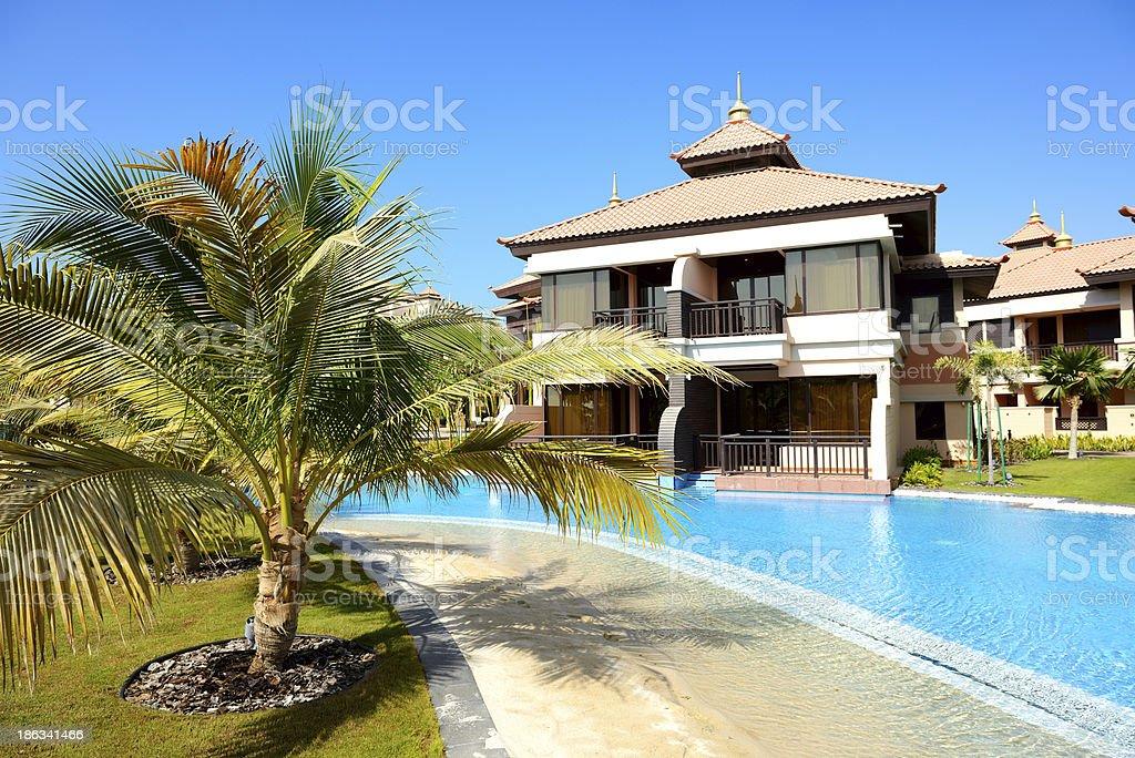 The luxury villas in Thai style hotel on Palm Jumeirah stock photo