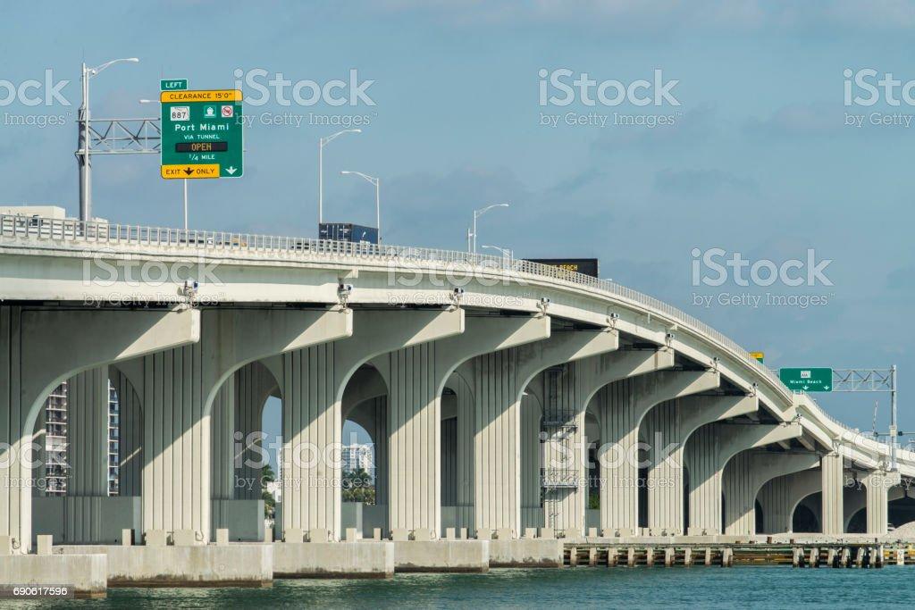 The MacArthur Causeway at Miami, Florida, USA. stock photo