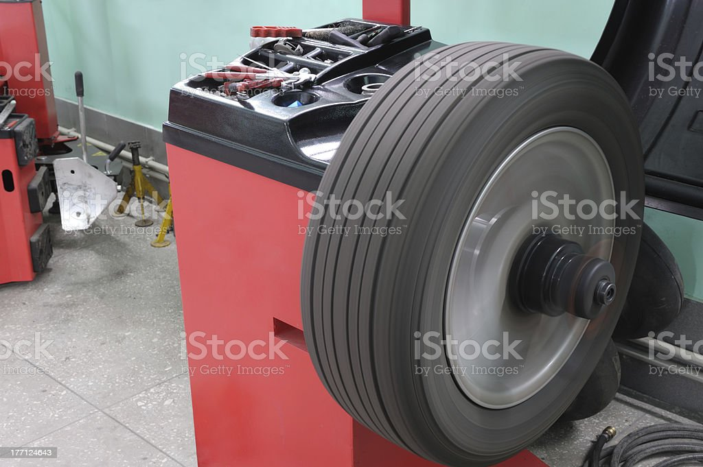 The machine tool for balancing of automobile wheels stock photo