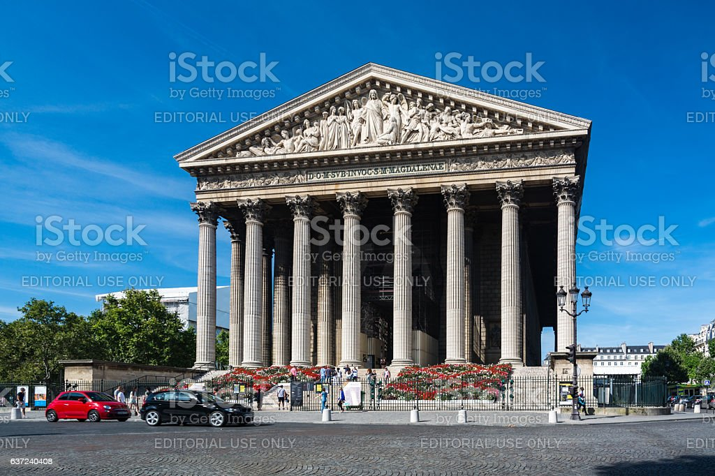 The Madeleine church in Paris stock photo